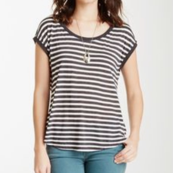 H by bordeaux Tops - Heather by Bordeaux Gray Jersey Striped Tee